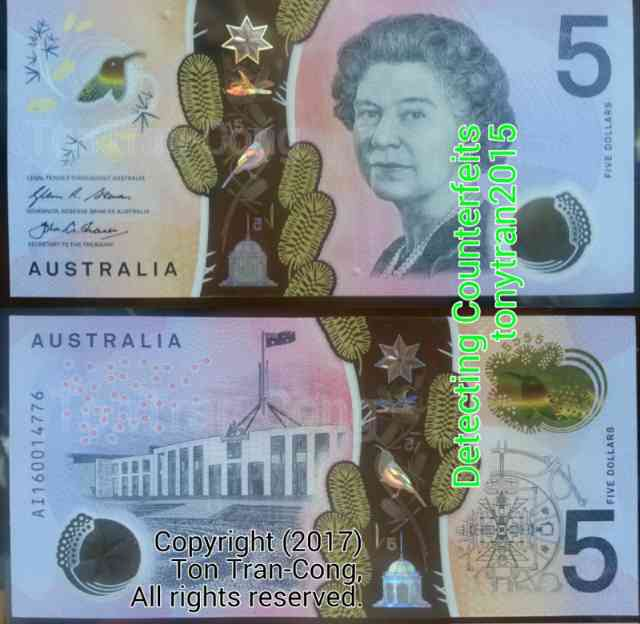 Australian note with a transparent stripe