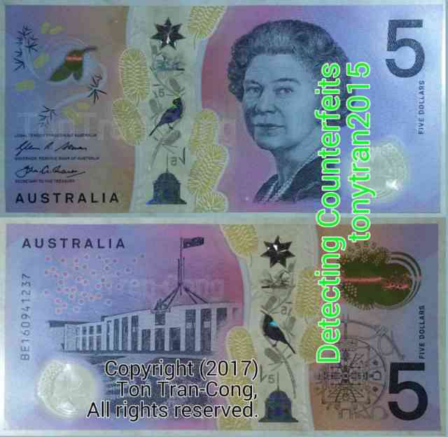 Australian note with a transparent stripe on white background